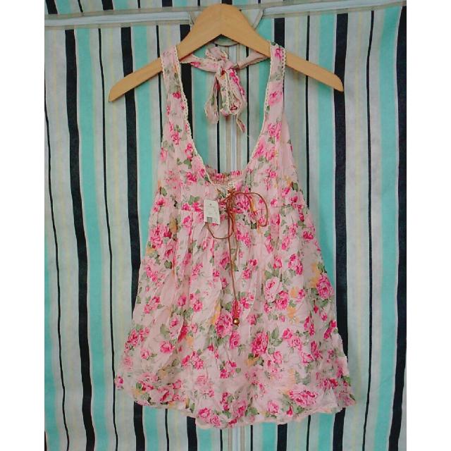 日系品牌Mussa碎花花柄玫瑰花蕾絲綁脖吊帶裙-粉