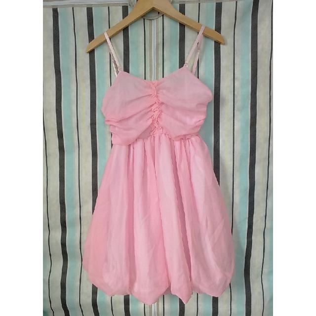 Vivi泡泡花苞雪紡連身裙 粉色洋裝