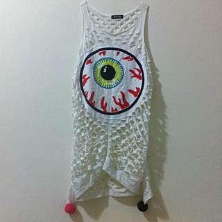 眼球造型洞洞白長裙