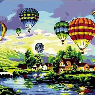 【現貨】40×50cm 數字油畫 熱氣球