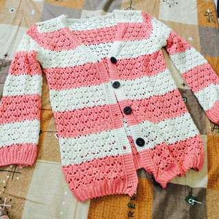 粉色條紋針織外套
