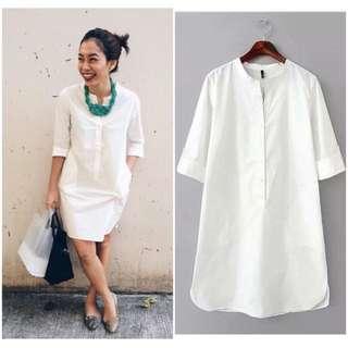 (PO) White Shirt Dress