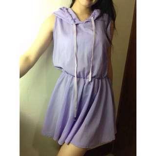 免運)淺紫縮腰背心連身裙