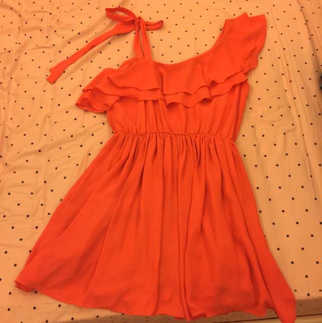 韓國橘色雪紡洋裝