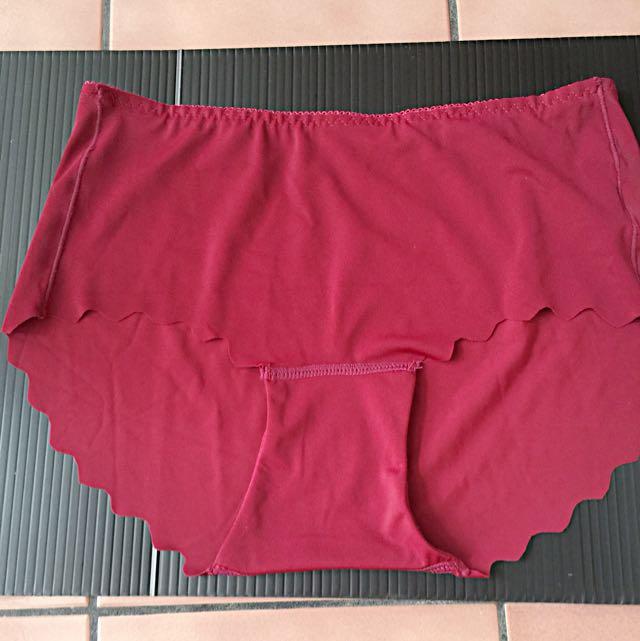 (全新)冰絲無痕內褲磚紅色