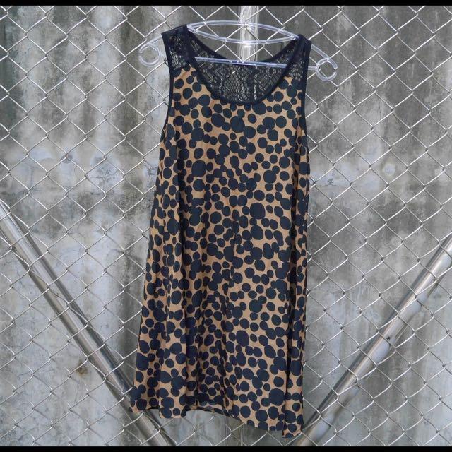 【二手】復古圓點布蕾絲背心洋裝