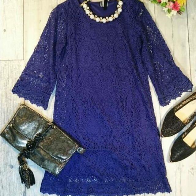 歐美寶藍雕花鏤空洋裝
