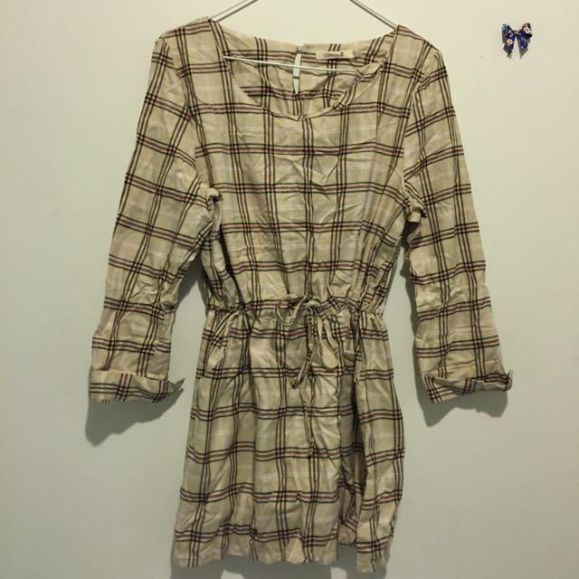 初秋*質感格紋洋裝
