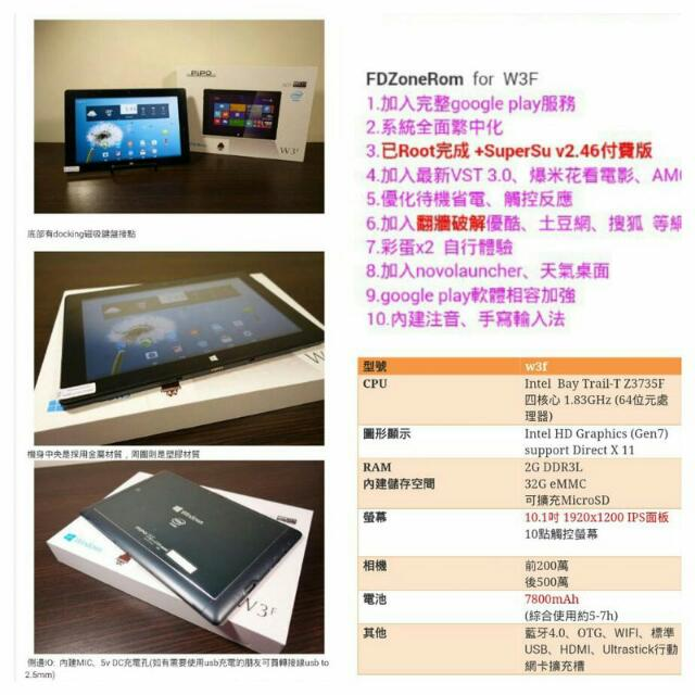 PIPO W3F 10.1吋 cp超高FullHD win8+安卓 雙系統平板電腦含原廠皮套磁吸鍵盤保護套