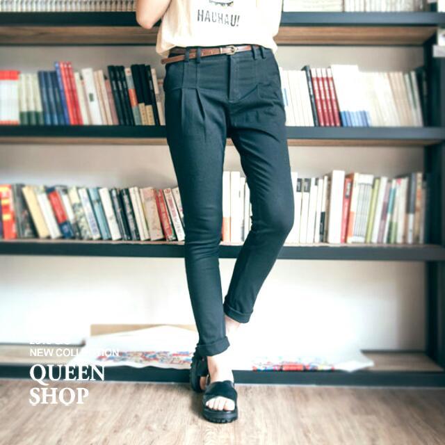 Queen Shop打摺設計直筒褲(M)