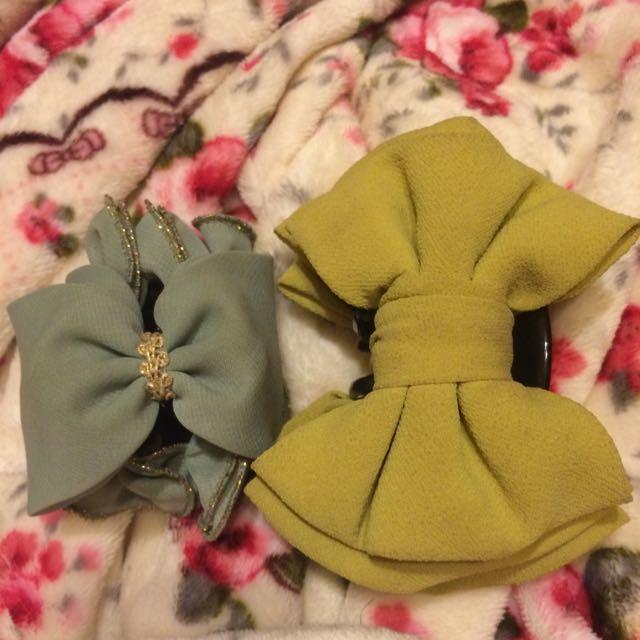 蝴蝶結鯊魚夾(芥黃和Tiffany綠)