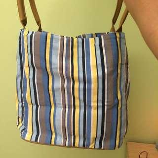 全新✨藍條紋手提包