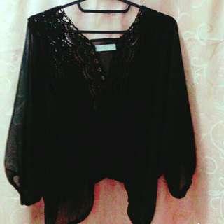 <暫售>黑色蕾絲雪紡上衣 ❤