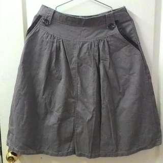 <二手><復古>jojoba80年代及膝淺褐色長裙