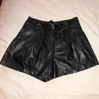 New H & M Black Pleated 'Leather' Shorts