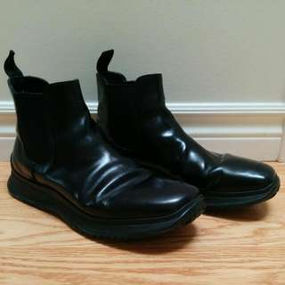 Prada Leather Ankle Boots Shoes Black Size 6