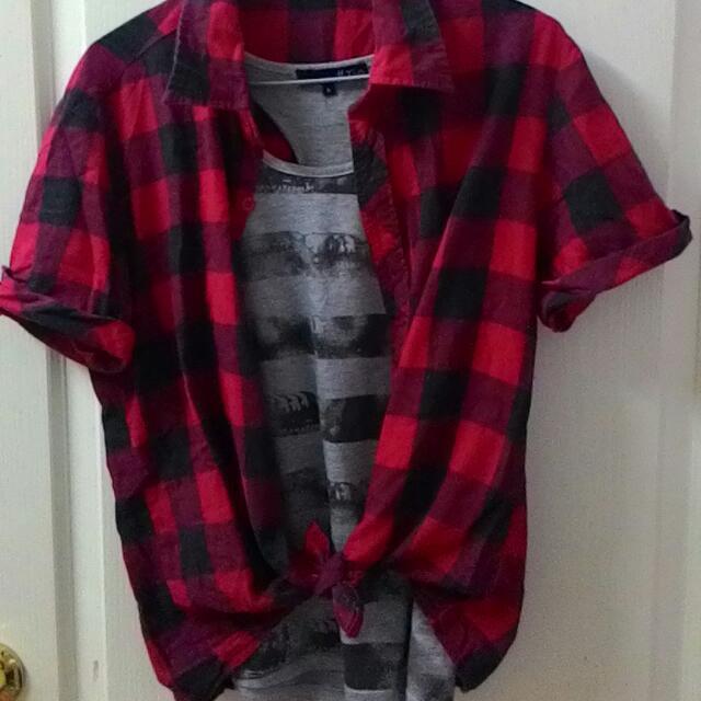 <二手><個性>紅黑格紋短袖襯衫