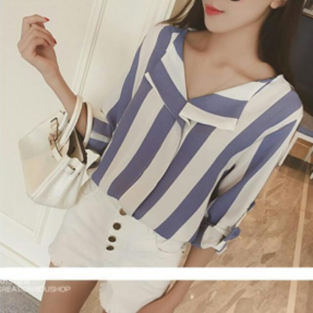韓國。條紋襯衫