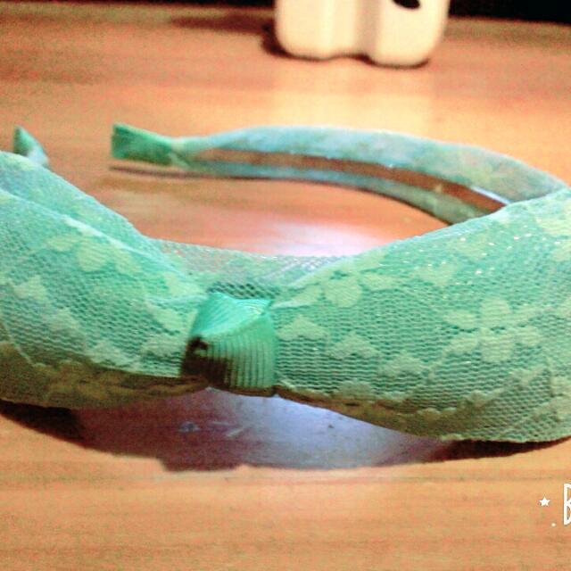 綠色蕾絲髮箍(含運)