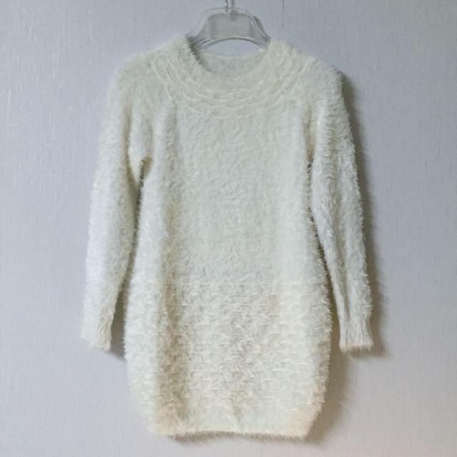 (保留中)毛料彈性淺米色毛衣