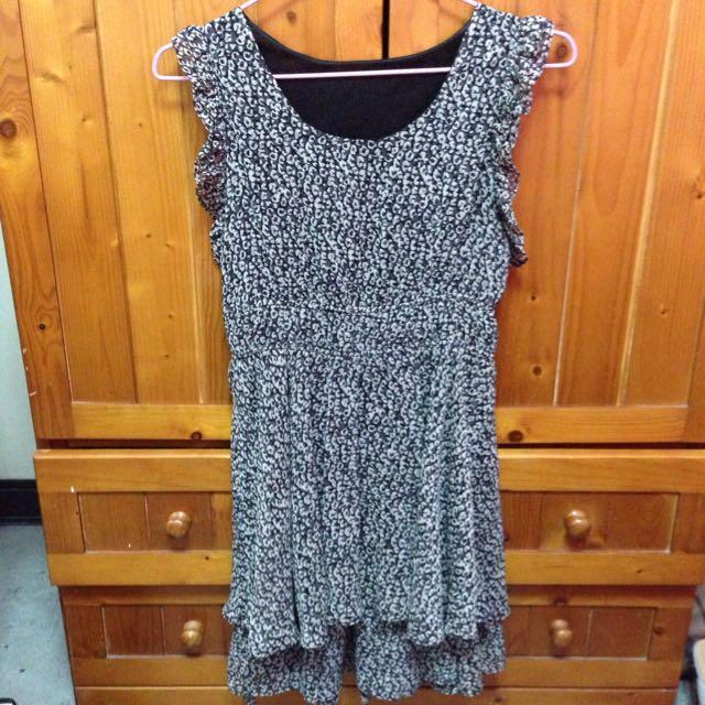 全新豹紋層次雪紡洋裝