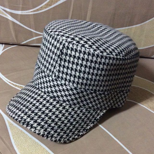 (台灣製)千鳥格 軍帽-全新品