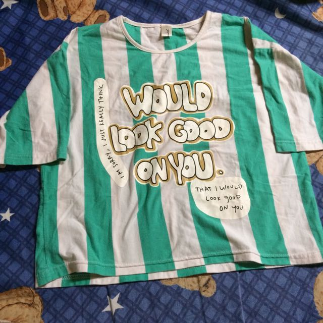 條紋 綠色 短板 短袖 T恤