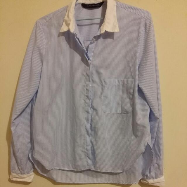 九成新大降價 Zara Woman 藍 白 條紋 襯衫 面試 上班 含運