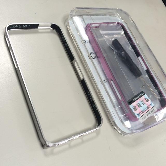 Iphone5 鋁合金邊框/防側邊刮痕保護套/二手 (粉紅色/銀色)