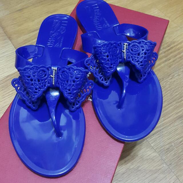Salvatore Ferragamo 渡假平底蝴蝶結夾腳涼鞋 (寶藍色)5號