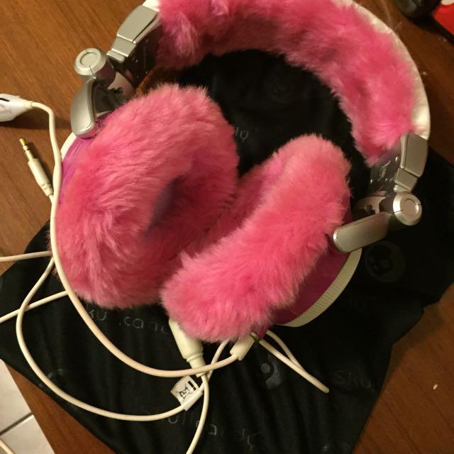 SKULL CANDY 桃紅絨毛耳機