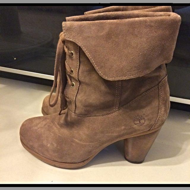 Timberland 麂皮高跟短靴(二手)保留
