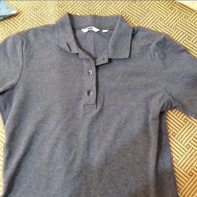 Uniqlo 鐵灰色 Polo衫 S