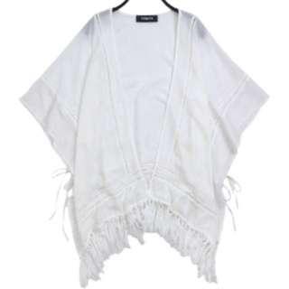雪紡摟空小格側綁帶下流蘇罩衫