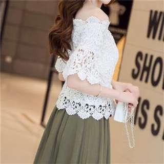 🌸一字領蕾絲上衣➕荷葉邊純棉長裙套裝 S/M/L