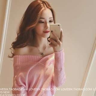 ⭐️一字領長袖針織衫  粉紅/淺藍/條紋