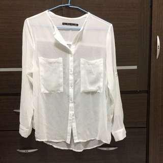 白色雪紡外罩衫