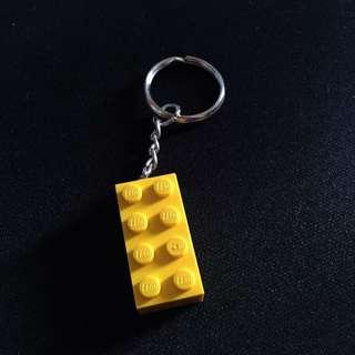 (手工)樂高積木鑰匙圈-黃-2*4