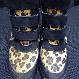 豹紋內增高 高筒鞋