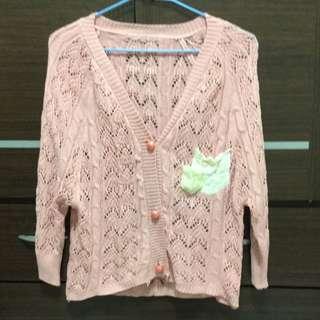 粉色七分袖針織外套