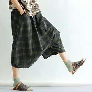 全新 森林系 文青風 休閒低襠綠格褲裙