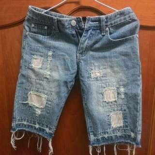 小男孩風條紋補丁中長牛仔褲