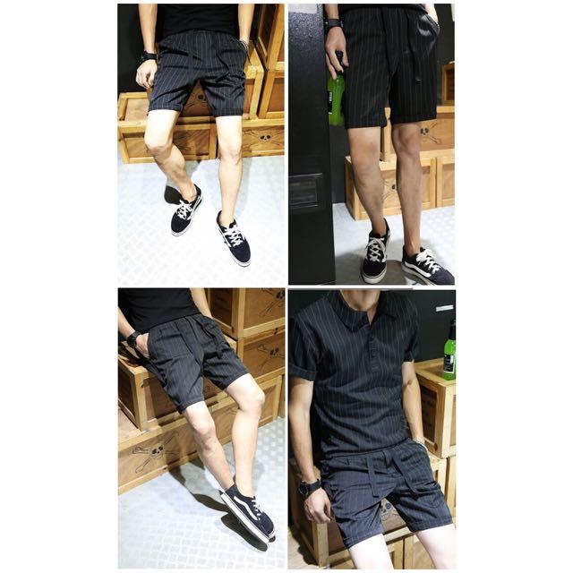 夏季新品男士韓版直條紋五分短褲工裝褲潮牌港式日系鬆緊褲