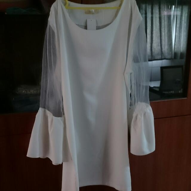 全新雪紡洋裝+內搭褲+全新短袖上衣