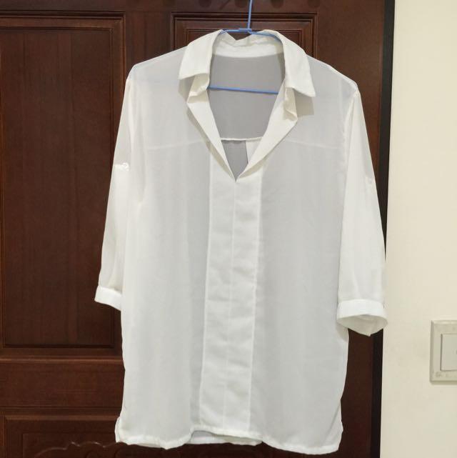 ✨含運✨性感白紗襯衫