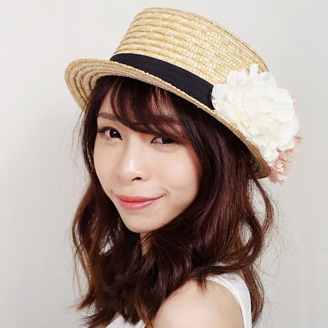粉嫩花朵緞帶草帽 帽子