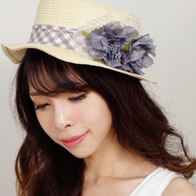 粉紫色格紋花朵草帽 帽子