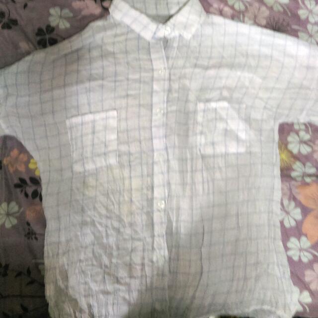 麻質格紋襯衫