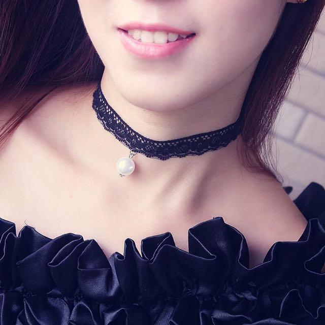 蕾絲珍珠頸鍊