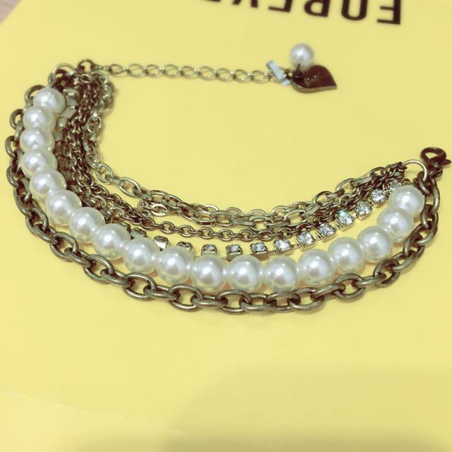 全新免運 珍珠水鑽金屬撞色手鍊
